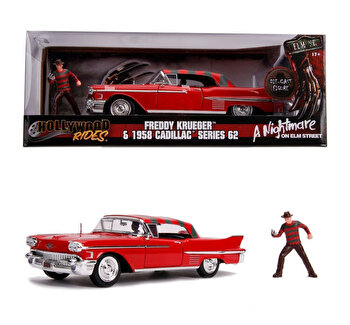 Macheta metalica – Freddy Krueger, 1958 Cadillac Model 62, 1:24 de la Jada Toys