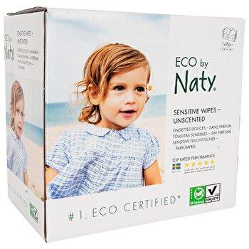 Servetele umede fara parfum Sensitive, 3 x 56 buc, ECO by Naty de la ECO By Naty