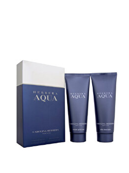Set cadou Carolina Herrera Aqua (Gel de dus 75 ml + After shave balsam 75 ml), pentru barbati