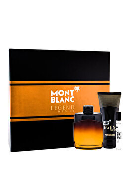 Set cadou Mont blanc Legend Night (Apa de parfum 100 ml + After shave balsam 100 ml + Apa de parfum 7.5 ml), pentru barbati de la Mont blanc