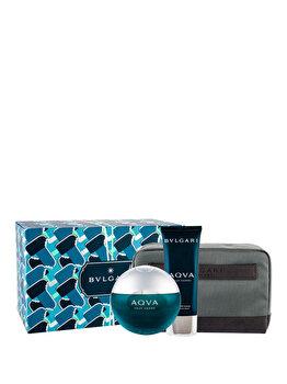 Set cadou Bvlgari Aqva Pour Homme (Apa de toaleta 100 ml + After shave balsam 100 ml + Geanta cosmetice), pentru barbati