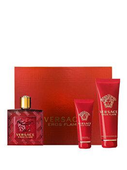 Set cadou Versace Eros Flame (Apa de parfum 50 ml + Gel de dus 50 ml + After shave balsam 50 ml), pentru barbati de la Versace