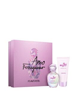 Set cadou Salvatore Ferragamo Amo Ferragamo Flowerful (Apa de toaleta 30 ml + Lotiune de corp 30 ml), pentru femei de la Salvatore Ferragamo