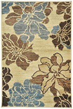 Covor Decorino Floral C97-031707, Bej/Maro/Albastru, 160×235 cm de la Decorino