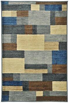 Covor Decorino Modern & Geometric C116-031710, Maro/Albastru/Bej, 67×120 cm de la Decorino