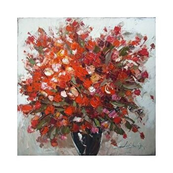 Tablou pictat manual Mendola Art, Geranium rosu, 218-OPE3109B, 60 x 60 cm de la Mendola Art