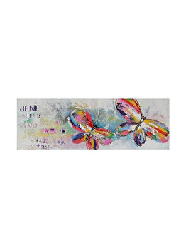 Tablou pictat manual Mendola Art, Butterflies, 218-FOPU532B, 40 x 120 cm de la Mendola Art