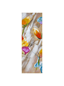 Tablou pictat manual Mendola Art, Colorful flowers, 218-OPN229C, 90 x 30 cm de la Mendola Art