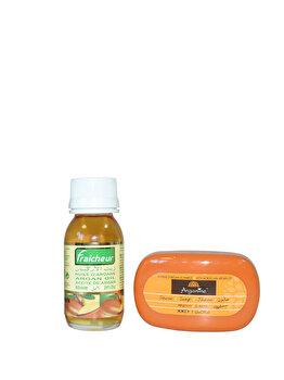 Set cadou (Ulei de argan Fraicheur, 60 ml + Sapun cu ulei de argan, 40 g) de la Azbane
