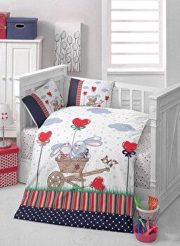 Set lenjerie de pat pentru copii Patik, din bumbac ranforce 100 procente, 100 x 150 cm, 170PTK2008