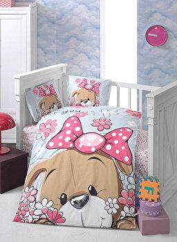 Set lenjerie de pat pentru copii Patik, din bumbac ranforce 100 procente, 100 x 150 cm, 170PTK2009 de la Patik