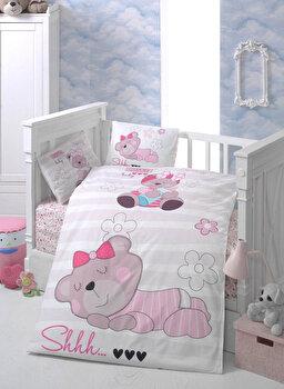 Set lenjerie de pat pentru copii Patik, din bumbac ranforce 100 procente, 100 x 150 cm, 170PTK2010 de la Patik