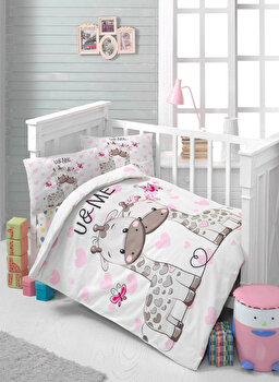 Set lenjerie de pat pentru copii Patik, din bumbac ranforce 100 procente, 100 x 150 cm, 170PTK2011 de la Patik