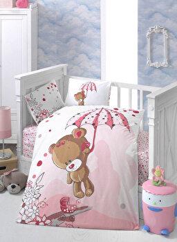 Set lenjerie de pat pentru copii Patik, din bumbac ranforce 100 procente, 100 x 150 cm, 170PTK2013 de la Patik