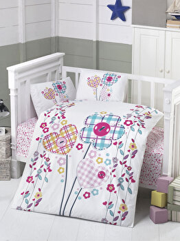 Set lenjerie de pat pentru copii Patik, din bumbac ranforce 100 procente, 100 x 150 cm, 170PTK2016 de la Patik