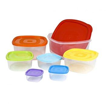 Set caserole pentru alimente, Rainbow Vanora, 7 piese, cu capace, VN-B-78810-1 de la Vanora