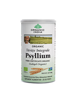 Supliment alimentar natural cu tarate de Psyllium Integrale Eco/Bio 100g Organic India de la ORGANIC INDIA