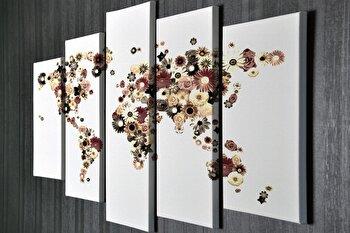 Tablou decorativ Majestic, 257MJS1470, canvas 100 procente, 5 piese, 70 x 20 cm de la Majestic