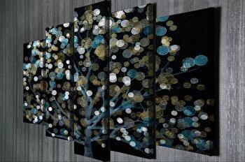 Tablou decorativ Majestic, 257MJS1471, canvas 100 procente, 5 piese, 70 x 20 cm de la Majestic