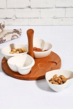 Set farfurii pentru desert Kosova, 430KSV0197, bambus 50 procente, portelan 50 procente, 21 x 21 x 14 cm de la Kosova