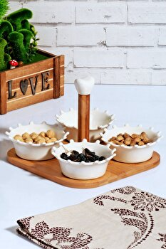 Set farfurii pentru desert Kosova, 430KSV0289, bambus 50 procente,portelan 50 procente, 21 x 21.5 x 16.5 cm de la Kosova