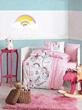 Set de pat pentru copii Cotton Box, 129CTN3020, bumbac ranforce 100 procente, 120 x 150 cm de la Cotton Box