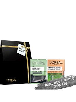 Set cadou L'Oreal Paris (Masca de fata iluminatoare cu carbune, 50 ml + Scrub exfoliant purificator cu zahar si seminte de kiwi, 50 ml)