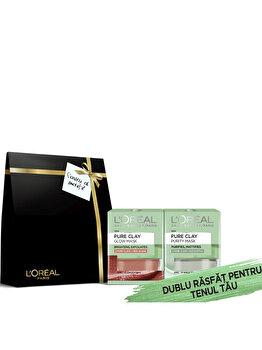 Set cadou L'Oreal Paris Pure Clay (Masca exfolianta pentru netezirea tenului cu alga rosie, 50 ml + Masca pentru matifierea tenului cu eucalipt, 50 ml) de la L Oreal Paris
