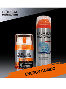 Set cadou Crema de zi L Oreal Paris Men Expert Hydraenergetic 50ml + Spuma de ras L Oreal Paris Men Expert Anti-iritatii 200 ml de la L Oreal Paris