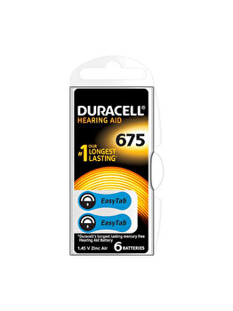 Baterie Duracell pentru aparat auditiv DA675, 81418219N, EasyTab, 6 bucati