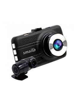 Camera auto duala DVR Smailo DoubleX, Extreme HD 2304 x 1296 36fps, senzor G, unghi filmare 150 grade, Negru de la Smailo