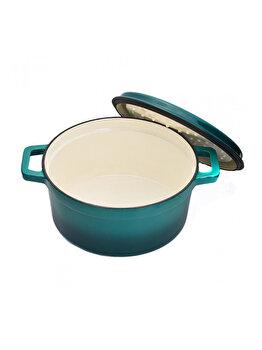 Semioala + capac, Cooking by HEIINER, HR-YT-KAN28, Taste of Home by Chef Sorin Bontea, 28 x 13 cm, 4.4 L, fonta emailata, Albastru de la Heinner