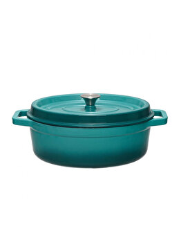 Semioala + capac, Cooking by HEINNER, HR-KB32-OVAL, Taste of Home by Chef Sorin Bontea, 33 x 26 cm, 5.9 L, fonta emailata, Albastru de la Heinner