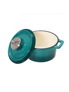 Cratita Cooking by HEINNER, HR- YT-KA14E, Taste of Home by Chef Sorin Bontea, 14 x 7 cm, 0.8 L, fonta emailata, Albastru de la Heinner