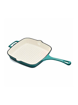 Grill fonta emailata, HR-YT-2727, 26.5 x 26.5 x 5 cm, Taste of Home by Chef Sorin Bontea, Albastru