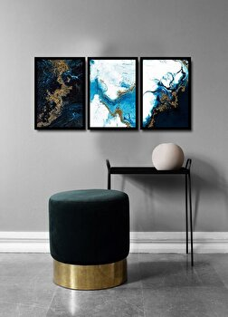 Tablou decorativ, Alpyros, MDF 100 procente, PVC100 procente, 3 piese, 112 x 51 cm, 841APY3101, Multicolor de la Alpyros