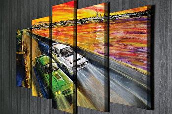 Tablou decorativ, Vega, Canvas 100 procente, lemn 100 procente, 2 piese, 105 x 70 cm, 265VGA1177, Multicolor