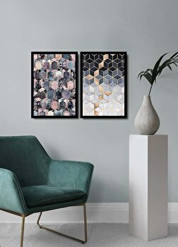 Tablou decorativ, Alpyros, MDF 100 procente, PVC100 procente, 2 piese, 74 x 51 cm, 841APY2101, Multicolor