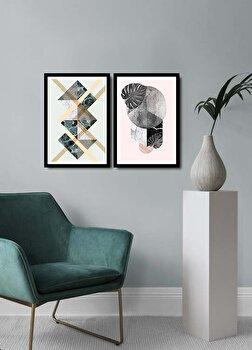 Tablou decorativ, Alpyros, MDF 100 procente, PVC100 procente, 2 piese, 74 x 51 cm, 841APY2102, Multicolor de la Alpyros