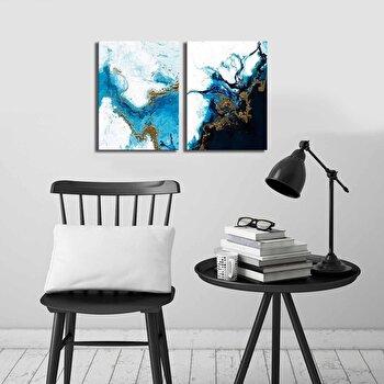Tablou decorativ, Canvart, Canvas, lemn 100 procente, 2 piese, 58 x 38 cm, 249CVT1392, Multicolor de la Canvart