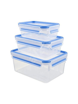 Set 3 caserole TEFAL Clip&Close, 0.55 - 2.3 L, plastic, K3028912, Albastru