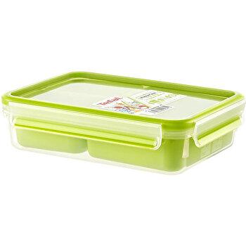 Caserola compartimentata TEFAL Clip&Go, 1.2 L, plastic, K3100412, Verde de la Tefal