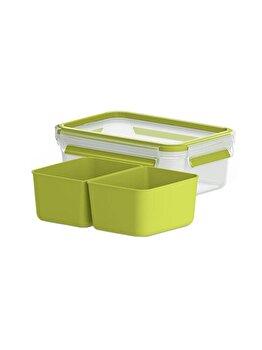 Caserola compartimentata TEFAL Clip&Go, 1 L, plastic, K3100512, Verde de la Tefal