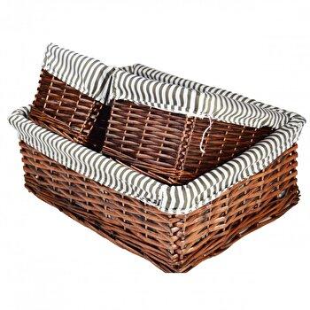 Set 3 cutii Jocca, din rachita, pentru organizare, cu husa pe interior, Alb/Gri de la Jocca