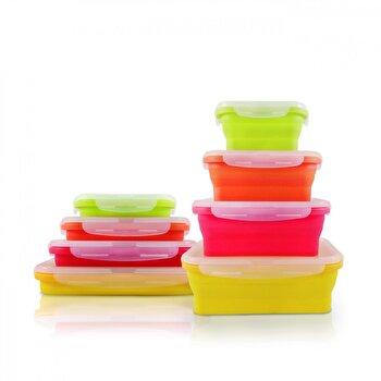 Set 4 cutii alimentare Jocca, din silicon, Multicolor