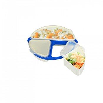 Cutie alimentara Jocca, cu 3 compartimente, plastic, Albastru