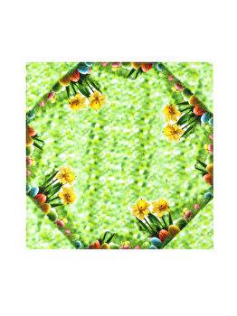 Fata de masa Mendola Fabrics Spring, 85 x 85 cm, 210-SPRING-8585, Verde/Multicolor de la Mendola Fabrics