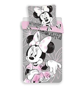 Lenjerie de pat single Mendola Fabrics, pentru copii, Disney-Minnie, bumbac 100 procente, 140 x 200 cm, 84-BEDB-05MIN-SG, Roz/Gri