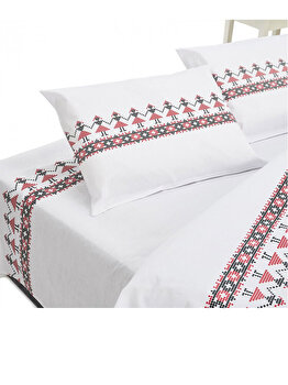 Lenjerie de pat dubla Heinner Home, bumbac, 4 piese, model traditional, HR-4BED132-TRDR, Multicolor