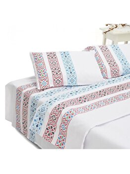 Lenjerie de pat dubla Heinner Home, bumbac, 4 piese, model traditional, HR-4BED132-TRDB, Multicolor de la Heinner